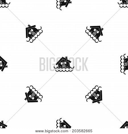 House sinking in a water pattern repeat seamless in black color for any design. Vector geometric illustration