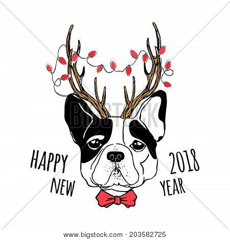 Vector drawn funny poster. Trendy french bulldog in a deer suit with horns garland with light bulbs and bow tie. Dog is symbol of Chinese New Year. Hand drawn holiday image.