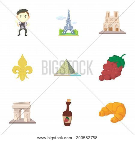 French sights icons set. Cartoon set of 9 french sights vector icons for web isolated on white background