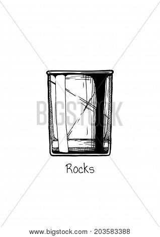 Illustration Of Tumbler Glass. Rocks