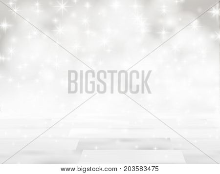 Empty wooden table in front of glitter lights background. De-focused blurred silver backdrop. Ready for product mock ups or display montage