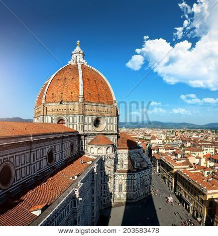Aerial view of cathedral Santa Maria del Fiore in Florence, Italy
