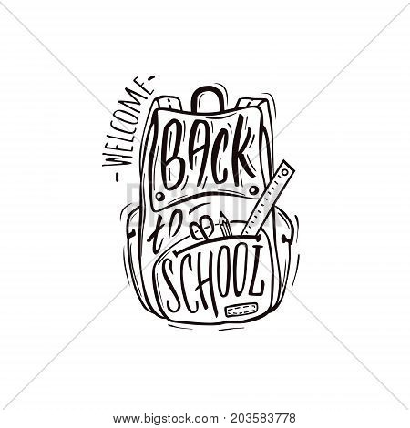 Welcome back to school. School bag with school supplies and hand-drawn lettering and ink splashes on white background. Vector illustration.