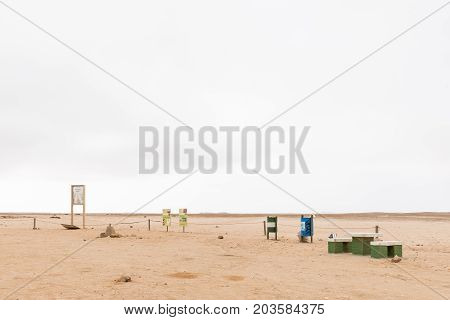 HENTIES BAY NAMIBIA - JUNE 29 2017: A picnic spot and viewpoint for lichen fields in the Namib Desert between Henties Bay and Swakopmund on the Skeleton Coast of Namibia