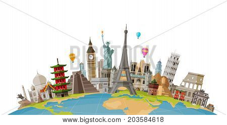 Travel, journey concept. Famous monuments of world countries. Vector illustration isolated on white background