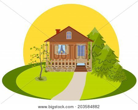 Rural landscape, house with veranda, three spruce and an apple-tree in the yard against the rising sun, isolated on white background, vector illustration
