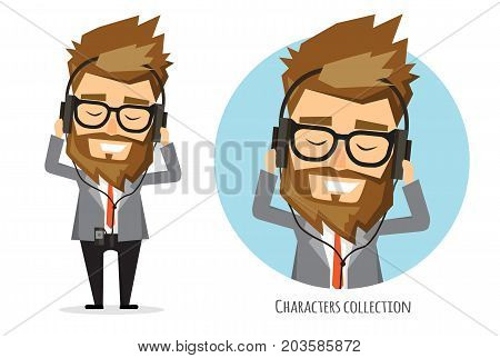 Young man in suit is listening music in headphone. cartoon, character in flat style