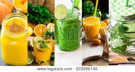 Set collage refreshing healthy drinks? detox infused water and smoothies from fruits and vegetables. Citrus pumpkin cucumbers apples bananas peaches mint papaya mango. High resolution banner.