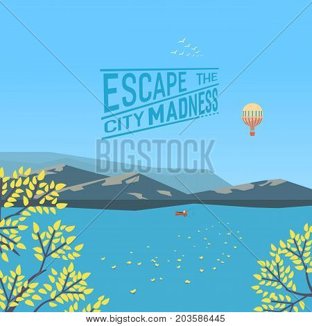 Mountain green valley landscape in Autumn. Escape city madness poster. Fisherman on plain river in mountains. Leaf fall on water. Freehand cartoon retro style. Vector countryside outdoor background