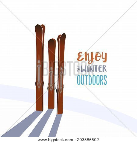 Mountain ski icon. Winter sports equipment. Vector cartoon retro style isolated. Seasonal motivation quote Enjoy winter outdoors. Design idea for advertisement of active lifestyle banner background