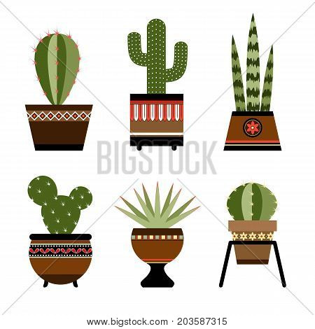 Six cactuses in pots with ornament. eps 10