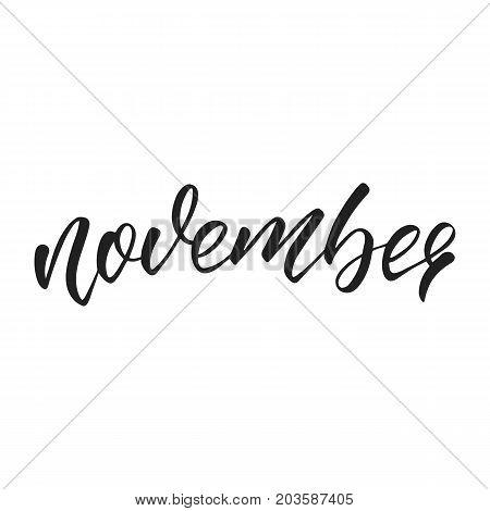 November. Autumn lettering. Autumn seasonal hand lettering quote