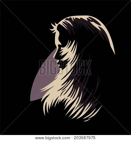 Vector profile of a girl in dramatic lighting.