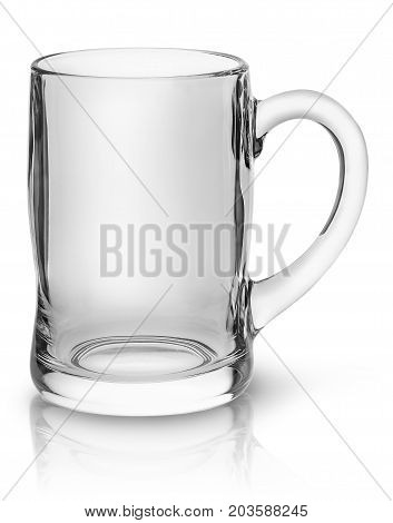 Glass mug for beer top view isolated on white background