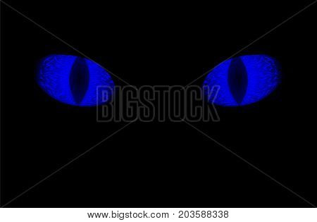 Glowing blue eyes of animal on black background. Neon blue eye with vertical pupil. Blue eye on black background. Game of Thrones symbol. Scary animal sight. Electric blue iris of dangerous animal