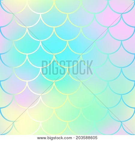 Fish scale pattern background. Gradient mesh vector texture. Candy color mermaid seamless pattern. Fantastic fish scale. Mermaid tail vector pattern. Marshmallow palette mermaid scale surface design
