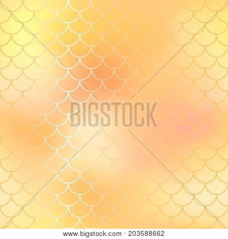 Fish scale pattern background. Gradient mesh vector texture. Yellow fish skin background. Fantastic shiny gold fish pattern tile. Mermaid vector pattern. Fish skin seamless pattern in golden color