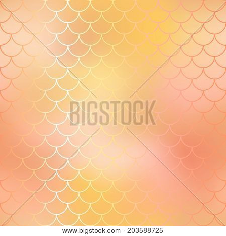 Fish scale pattern background. Gradient mesh vector texture. Blush pink mermaid seamless pattern. Fantastic gold fish surface. Mermaid tail vector pattern. Fish skin seamless pattern in golden color