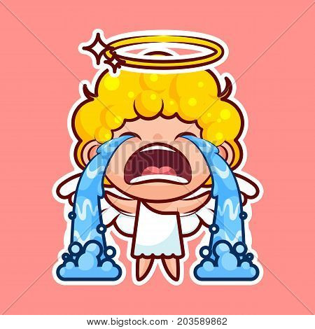 Sticker emoji emoticon, emotion sob, cry, weep, vector isolated illustration happy character sweet divine entity, cute heavenly angel, saint spirit, wings, radiant halo pink background for mobile app poster