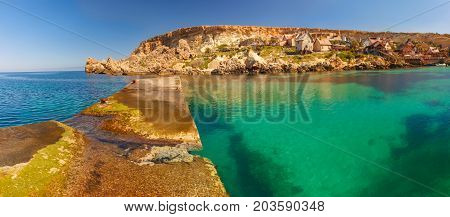 Panorama of Popeye Village in the sunny day, Malta