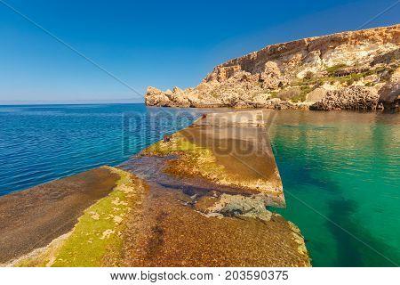 Anchor Bay in the sunny day, Malta