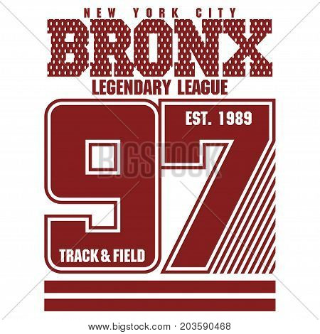 New York Bronx Sport wear typography emblem, t-shirt stamp graphics, tee print, athletic apparel design poster