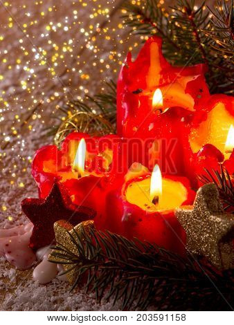 Christmas decoration with christmas candles for Advent.Christmas card .