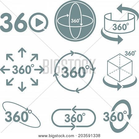 360 degrees view sign icon on the white background Virtual Reality technology concept.