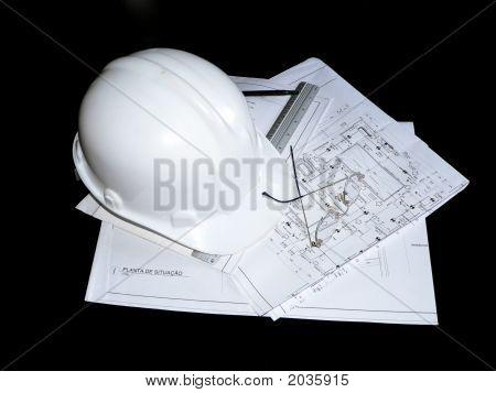 Construction Helmet, Blueprint & Utensils