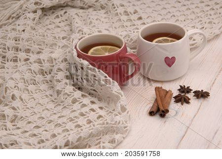 Two Cups Of Tea And A Scarf