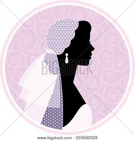 Stock Vector Illustration Silhouette portrait of a woman in profile in a wedding dress and veil