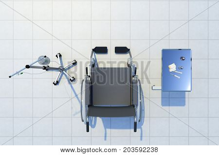 wheelchair with a dropper and medicines top view. 3d rendering