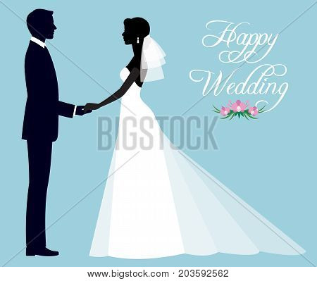 Silhouette of a loving couple of newlyweds groom and bride in full length in wedding dresses Stock vector illustration