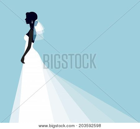 Invitation for a show of brides. Silhouette of a bride's profile in a wedding dress and veil. Stock Vector Graphics.