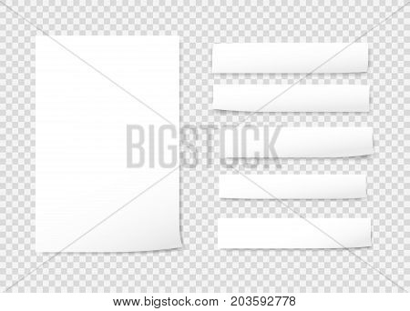 White blank, note, notebook, copybook paper strips on gray background