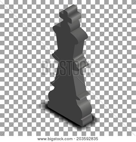 Photo realistic black king chess piece. 3D isometric style vector illustration.