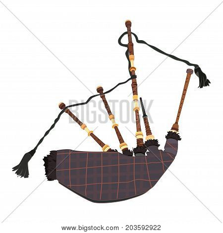 Vector illustration of scottish bagpipe. Wind musical instrument in flat style.