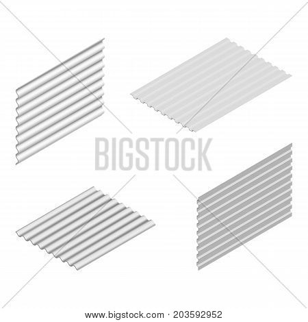 Sheet of wave slate and steel profile isolated on white background vertical and horizontal arrangement. Element of the design of building materials. 3D isometric style vector illustration.