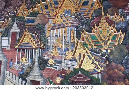 BANGKOK, THAILAND - JANUARY 28, 2011: Ancient mural painting with scene from the Ramakien at Wat Phra Kaew Temple. The Ramakien is national epic, derived from the Hindu epic Ramayana.