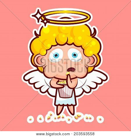 Sticker emoji emoticon emotion watch movie, eat popcorn, vector isolated illustration character sweet divine entity, heavenly angel, saint spirit, wings, radiant halo on pink background for mobile app