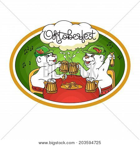 Oktoberfest card. Vector Emblem with a bear, beer, fish and handwritten word Oktoberfest. Graphic logo on white background. Two bears in friendly conversation over a beer.