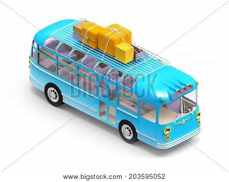 blue retro bus with roof rack luggage isometric view isolated on white. 3d illustration