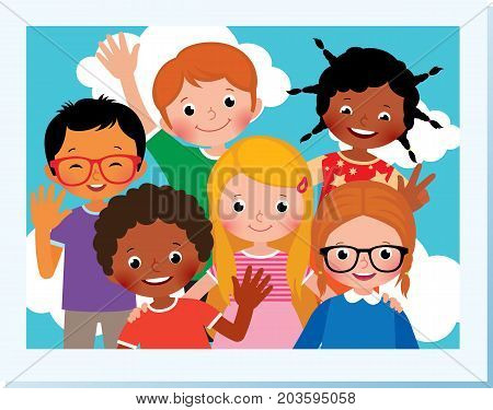 Stock Vector Cartoon Illustration. Photo Group Of Happy Children Of Different Nationalities In The S