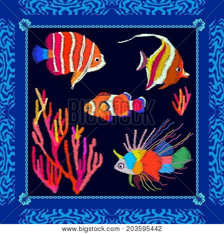Silk scarf with exotic fishes and colorful corals on dark background. Beach textile collection.