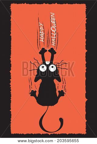 A black cat climbs the wall and leaves scratches. The idea for Halloween. Greeting card. Vector illustration.