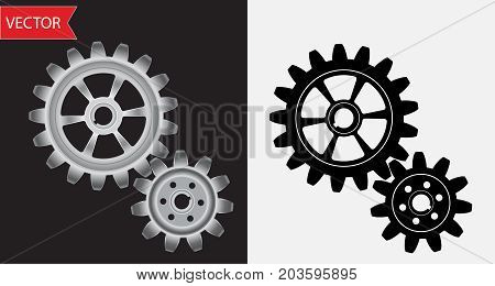 Vector gears of metallic silver and black colors. Collection of metal and black gears. Gear pinion set. Industrial gears vector set. Toothed wheels set. Cogwheel