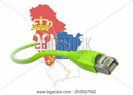 Internet connection in Serbia concept. 3D rendering isolated on white background