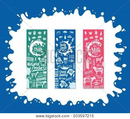 Vector Milk Products Vertical Banners