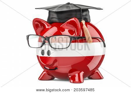 Piggy bank with Latvian flag. Savings for education in Latvia concept 3D rendering