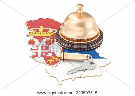 Serbian booking concept. Irish flag with hotel key and reception bell 3D rendering